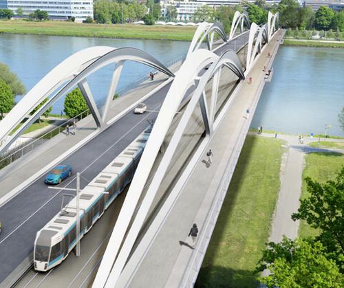 Neue Donaubrücke Linz – Zweite Schienenachse (Rendering: Mimram)